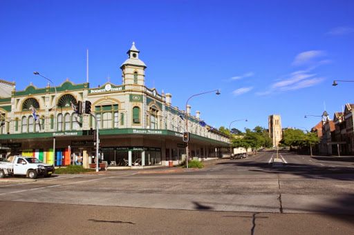 Wide streets and the view up to St Saviour's Cathedral. Goulburn, Australia