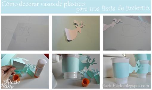Decorar vasos de plástico para fiesta.
