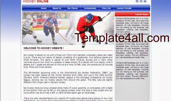 Free CSS Blue Hockey Snow Website Template
