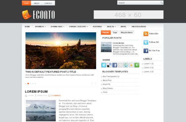 business orange blogger template