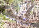 Carte de la région de Zilia - Felicetu avec le tracé du parcours de la boucle de Cima di Casellu