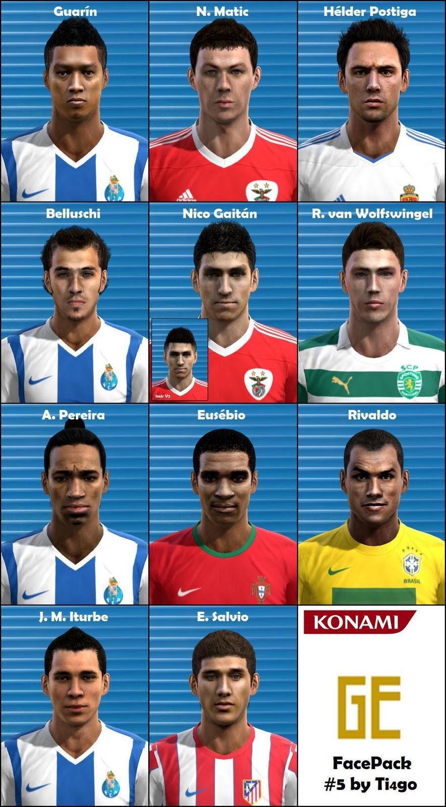 Gurín, H. Postiga, Gaitán, Alvaro Pereira, J.M. Iturbe, Rivaldo Faces - PES 2012