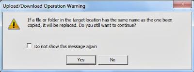 Upload/Download Operation Warning