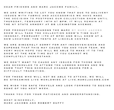 Marc Jacobs Formal Apology on Rescheduling of FW13 show.