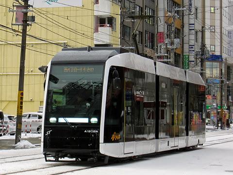 札幌市電 A1202号「ポラリス」 西4丁目にて その1