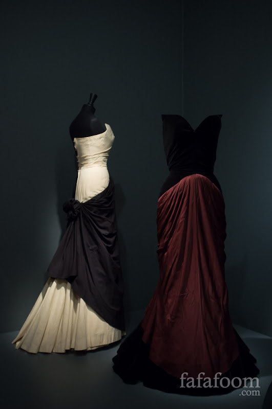 "Charles James, ""Bustle"" dress (right) and muslin (left), 1947."