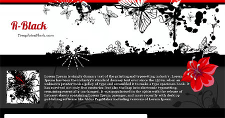 Free Blogger R-Black Butterfly Flowers Template