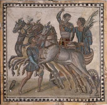 Mosaico con cuadriga procedente de talleres romanos, siglo III. (Museo Arqueológico Nacional).