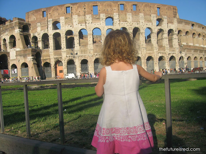 Rome is, well, the Colosseum in Rome. :) In the first few months of our travels. Lila was 3 years old.