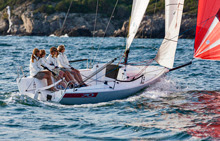 J/70 women's sailing team- on Tampa Bay, Florida