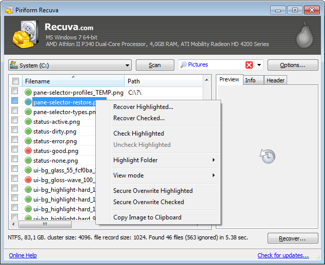 Screenshot of Recuva v.1.47.948 File Recovery PC Software Free Download at Alldownloads4u.Com