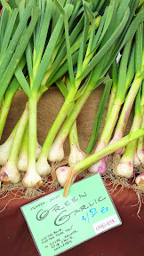 Some of the offerings at the Hollywood Farmers market on Saturdays - green garlic