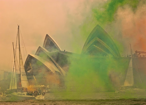 Smoke and minnows - HMAS Canberra is leaving the building! Celebrating Australia Day in Sydney Harbour