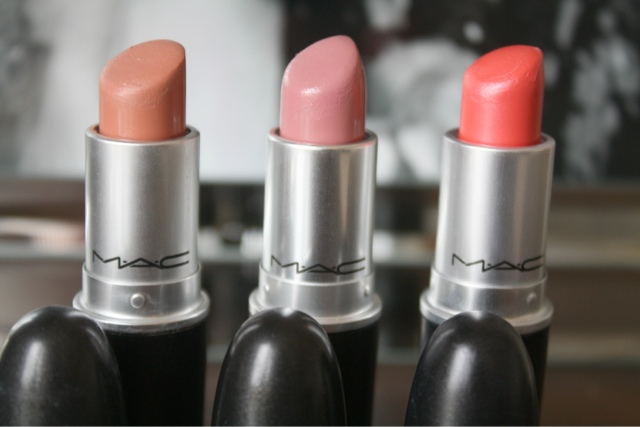 Mac lipsticks shy girl, creme cup and costa chic swatch