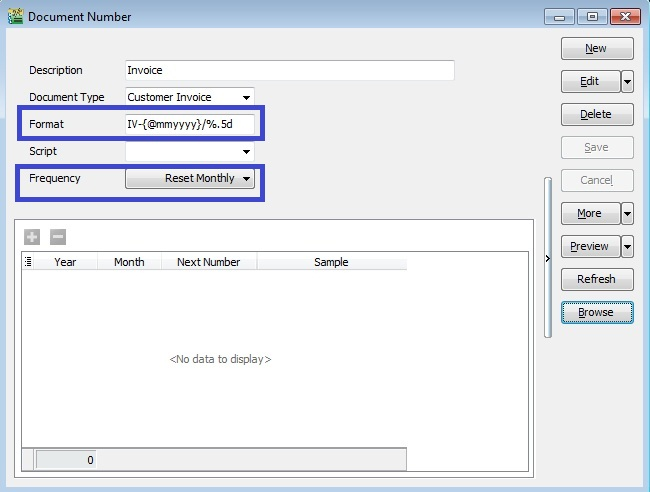 Maintain Document Number Reset By Monthly Or Yearly HIME - Invoice number format