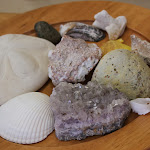 Collections of interesting items, like this plate with rocks and shells, enable children to explore with all their senses, and, over time, to learn many advanced vocabulary terms.