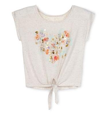 Áo thun kiểu Arizona bé gái từ 4-20Plus , màu kem hình tim, vietnam xuất khẩu.