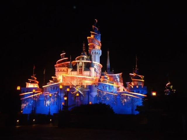 Sleeping Beauty's castle at night in Disneyland Hongkong