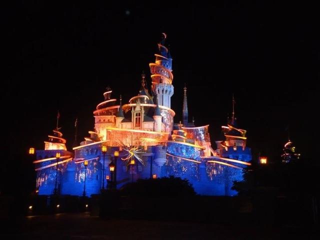 Sleeping Beauty's castle at night in Disneyland Hongkong