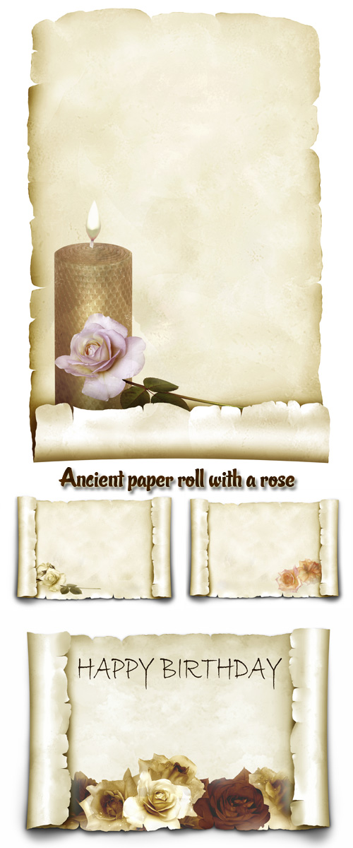 Stock Photo: Ancient paper roll with a rose