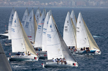 J/80 sailboat- sailing off Palma Mallorca Spain in Copa del Rey