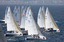 J/80 sailboat- sailing off Palma Mallorca Spain in Copa del Rey