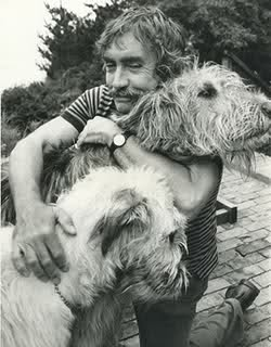 Edward Albee and two dogs