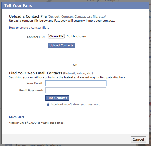 Import Contacts on Facebook
