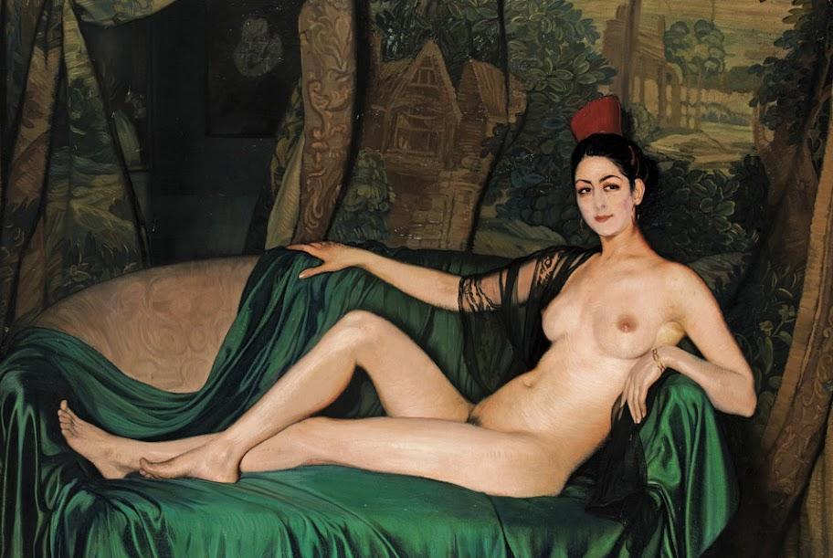 Ignacio Zuloaga - Madame Souty Reclinada en un Sofa