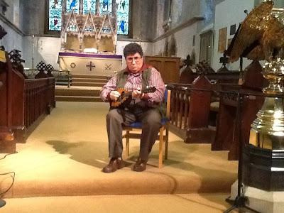Geoff Small playing mandolin, RSM Carol Service, 9 Dec 2013