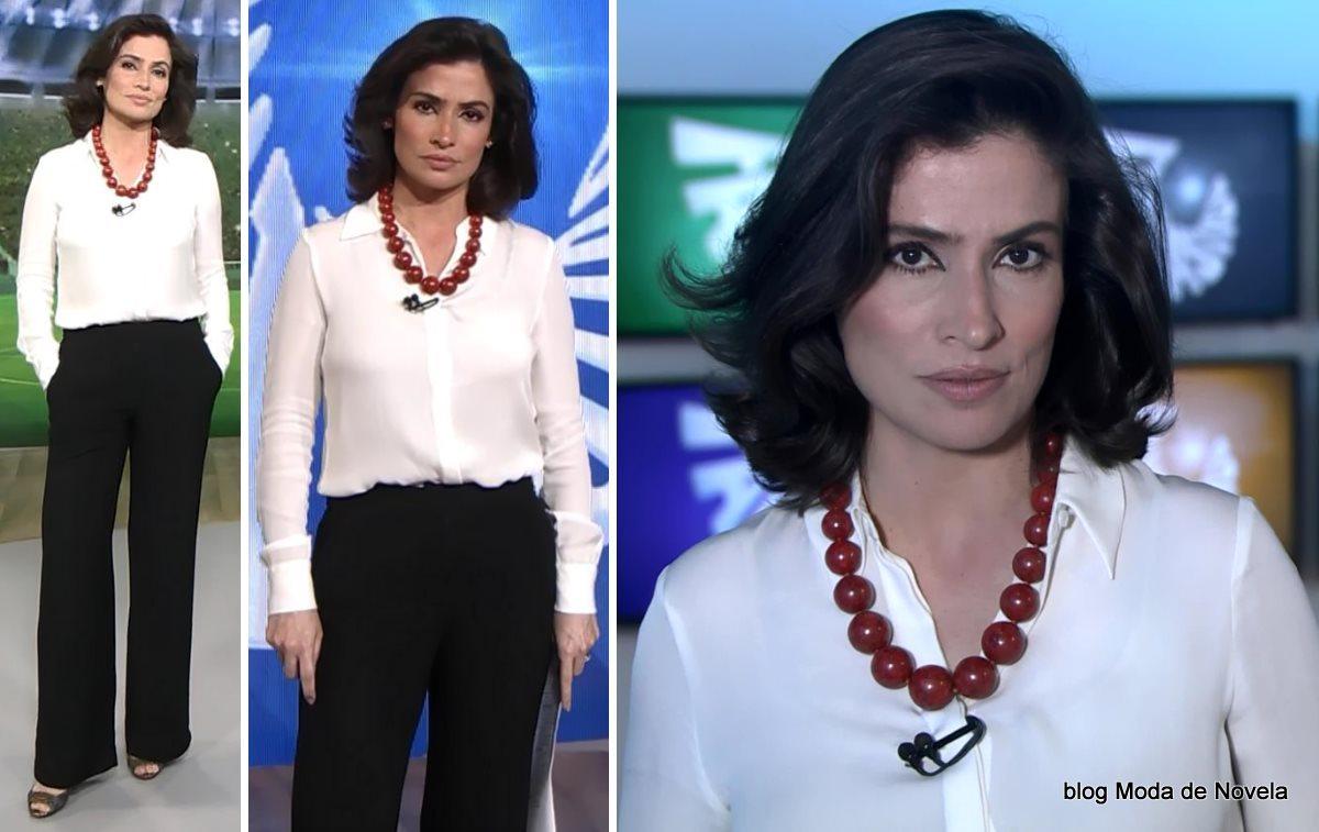 moda do programa Fantástico - look P&B da Renata Vasconcellos dia 27 de julho