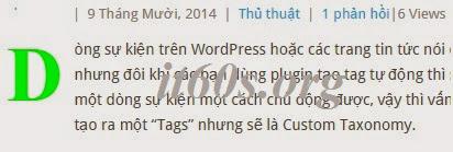 Cách tạo Drop cap cho bài viết wordpress không dùng Plugin 2