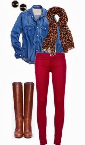 Cheetah scarf, denim shirt, red pants and long brown boots combination for fall