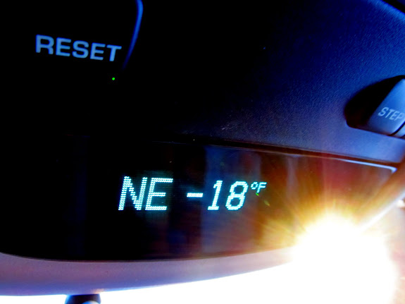 It was -18 degrees in Green River, and it got down to -24 during the drive south toward Keg Spring Canyon