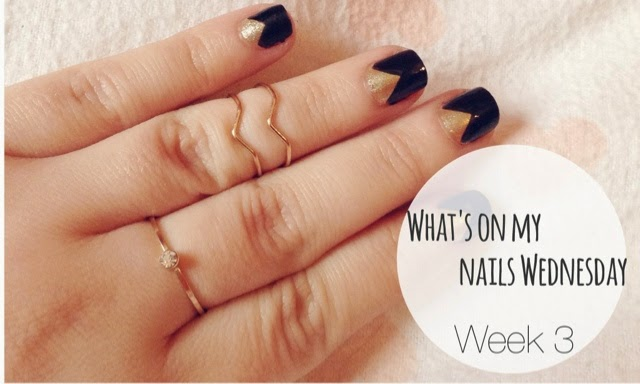 Black and Gold Inverted French Manicure Nail Art