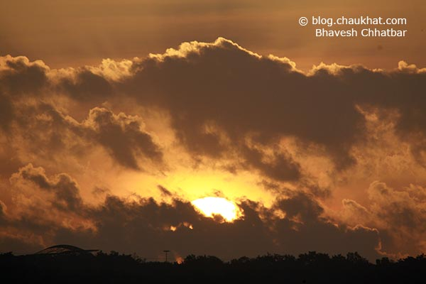 Awesome sunrise with natural sepia tones