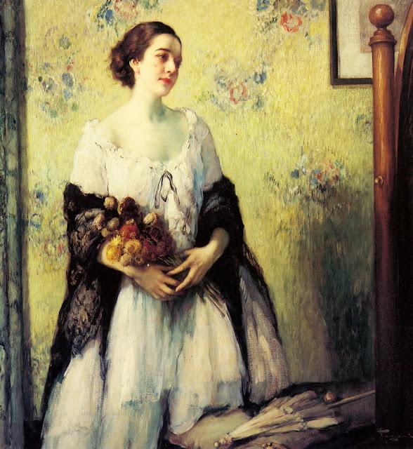 Fernand Toussaint - A Young Woman Holding A Bouquet