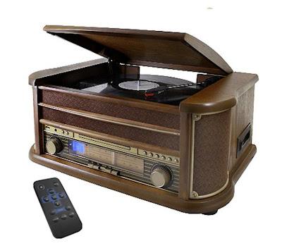 Retro design platenspeler met radio, cd, cassette en usb