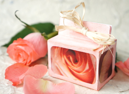 Paper gift box with a free template
