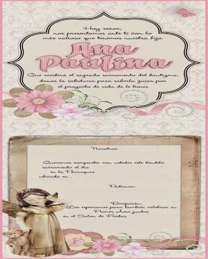 Tarjetas de bautizo para imprimir