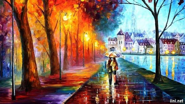 ảnh mưa mùa thu tình yêu