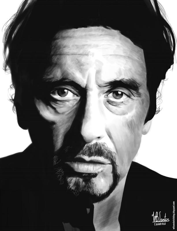 Digital painting of Al Pacino, using Krita 2.7 Alpha.