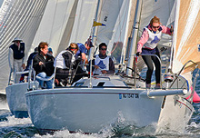 J/105 one-design fleet sailing Storm Trysail College Regatta