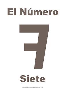 Lámina para imprimir el número siete en color marrón