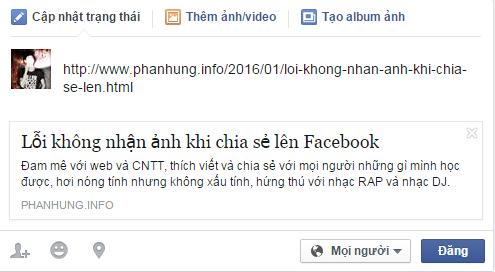 Fix lỗi không hiện thông tin khi chia sẻ link lên Facebook