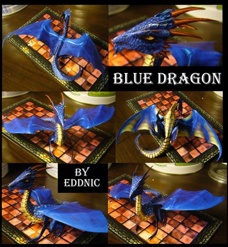 Fantasy Creatures Blue Dragon Papercraft