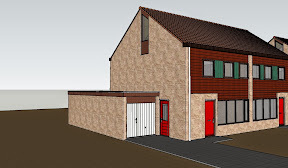Semi-detached houses with hybrid timber frame/masonry construction