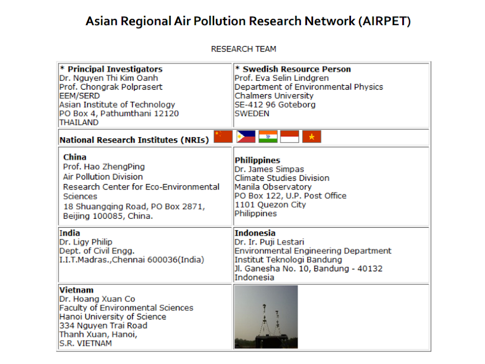 Asian Regional Pollution Research Network (AIRPET)