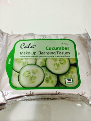 Cala, make-up cleasing tissues, cucumber, lenço, limpeza, facial
