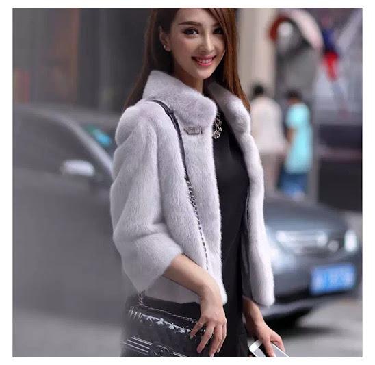 áo khoác lông chồn tay lửng cổ gập cao